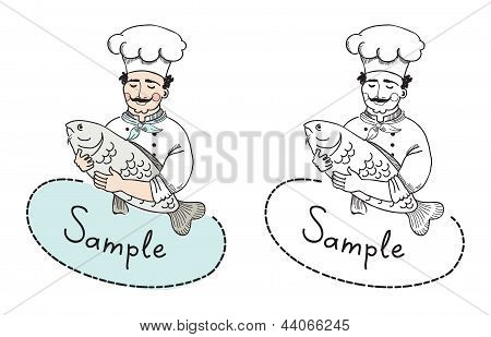 Chef With Fish Logo Template