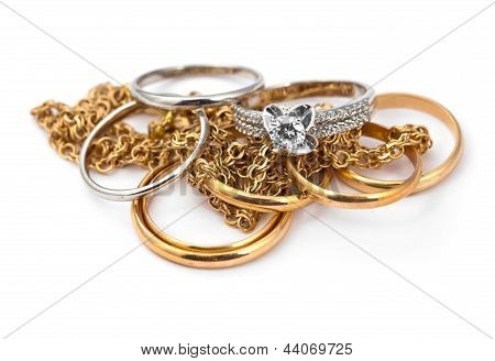 Golden Jewelry On White