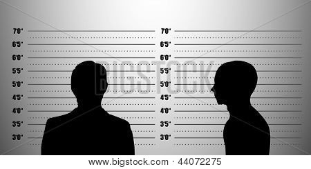 detailed illustration of a mugshot background with a portrait and profile , eps10 vector