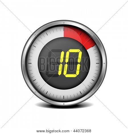 illustration of a metal framed timer with the number 10, eps10 vector