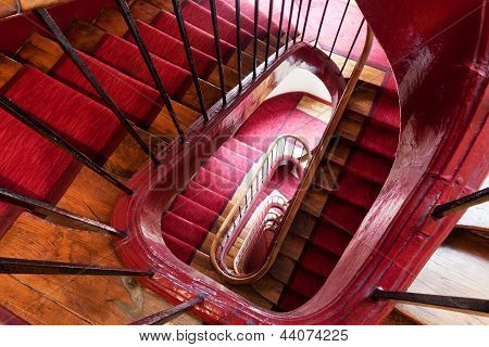 Spiral Steps In Old House