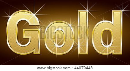 Vector golden word gold with golden letters and lights