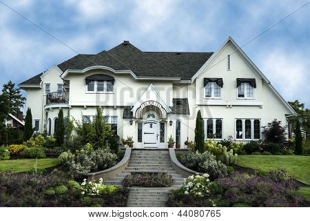 Exterior Of White Stucco Luxury House