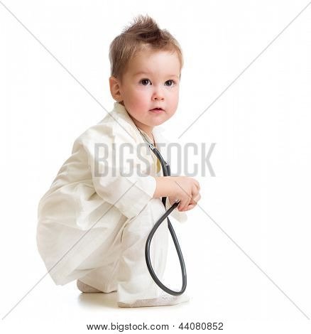 kid or child playing doctor with stethoscope isolated