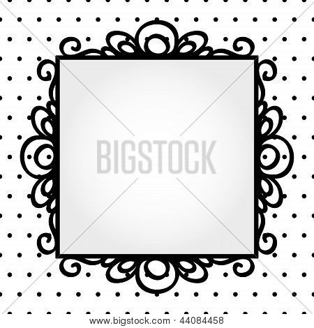 Retro square frame on polka dot background invitation or greeting card template, vector