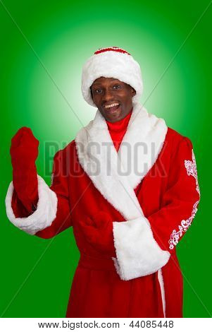 surprised black santa claus