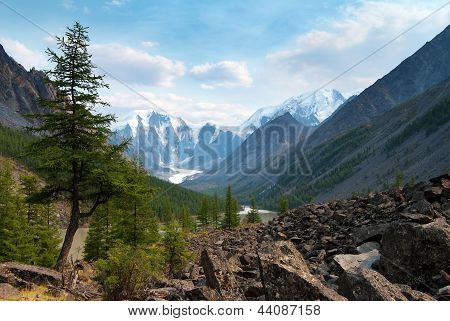panoramic view of savlo rock face - altai range - mountains russia