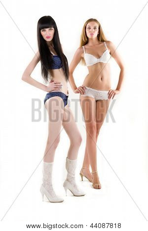 Two attractive girls in erotic lingerie