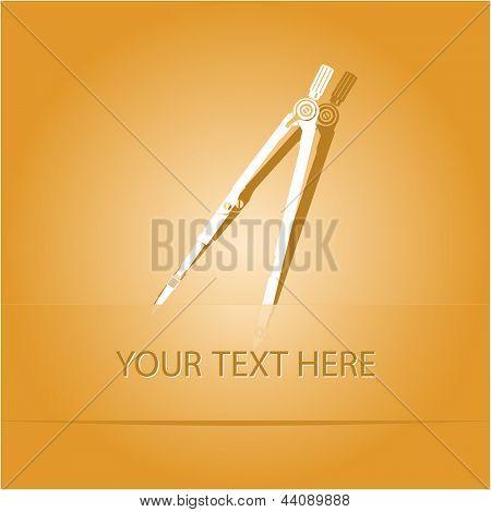 Caliper. Paper sticker as bookmark. Vector illustration. Eps10.