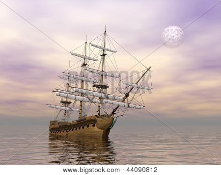 Old Merchant Ship - 3D Render