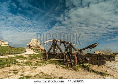 Old catapult in Les Baux-de-Provence, France