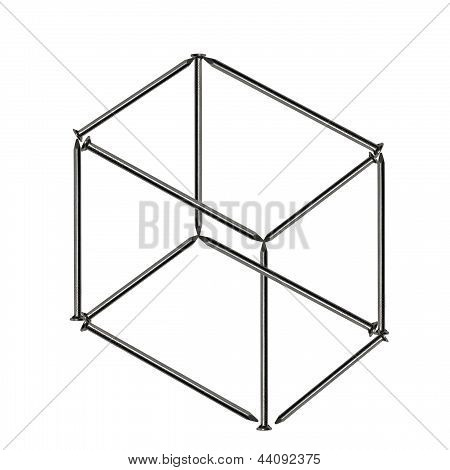 Impossible Cube Of Nails Isolated On White Background