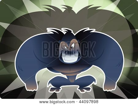 Aggressive Cartoon Huge Gorrila