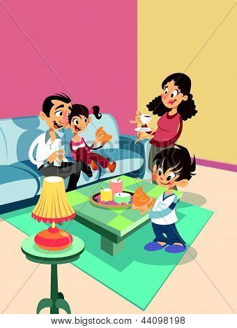 Cartoon Family At The Living-room