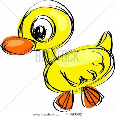 Naif Drawing Baby Duck