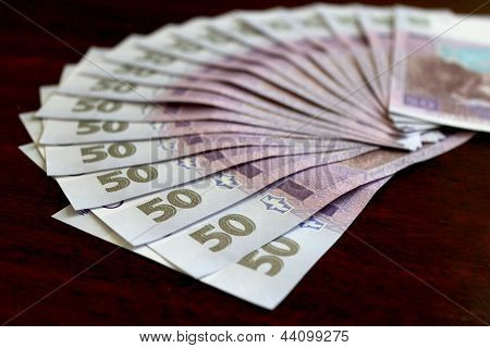 Ukrainian money value of 50 grivnas