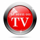 picture of woodgrain  - As seen on tv icon with white on red background - JPG