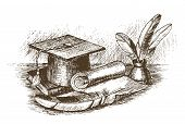 foto of inkpot  - Graduation cap inkstand with feathers and scroll draw by hand - JPG