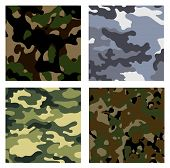 stock photo of camouflage  - Four different variants of camouflage as backgrounds - JPG