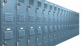 foto of combinations  - A perspective view of a stack of blue metal school lockers with combination locks and doors shut on an isolated background - JPG