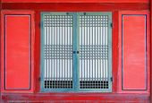 window on a gyeongbokgung palace in seoul, korea.
