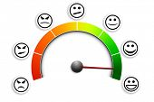 stock photo of positive  - detailed illustration of a customer satisfaction meter with smilies - JPG