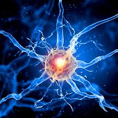 pic of nerve cell  - Illustration of a nerve cell on a colored background with light effects - JPG