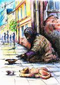 foto of beggar  - Beggar with dog on the street - JPG