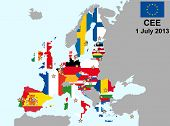 pic of holland flag  - illustration of european union map with flags from 1 july 2013 - JPG