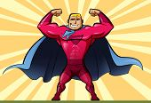 stock photo of muscle builder  - A man superhero with a red suit and a blue cape - JPG