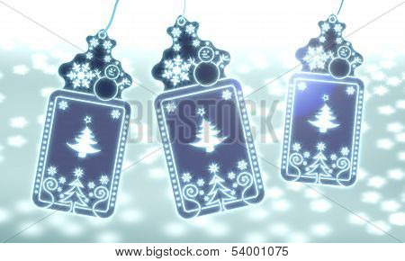 Three Christmas Labels With Abstract Christmas Tree Sticker
