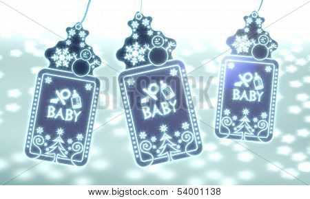Three Christmas Labels With Baby Sign