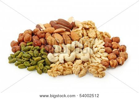 Group of nuts isolated on white background