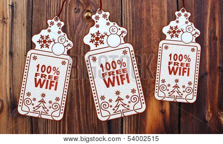Three Christmas Cards With 100 Percent Free Wifi Sign