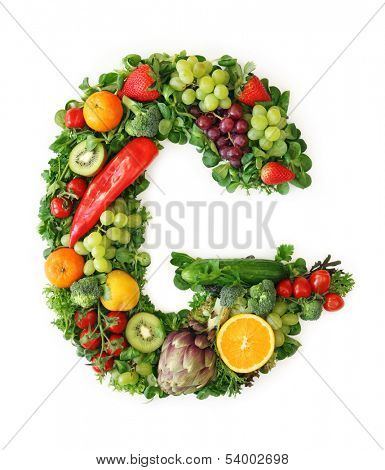 Fruit and vegetable alphabet - letter G