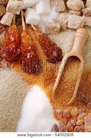 Various kinds of sugar close up