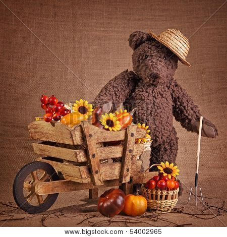 Teddy bear and wooden wheelbarrow
