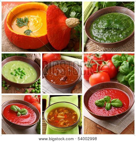 Collage of different soups