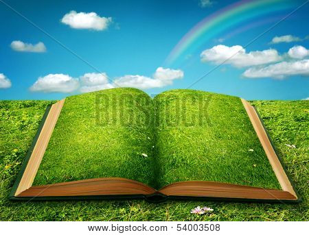 Open magic book of nature