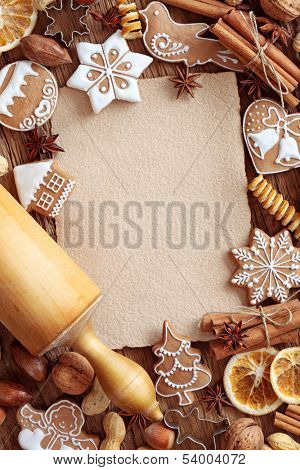 Blank note  for recipes of christmas cakes