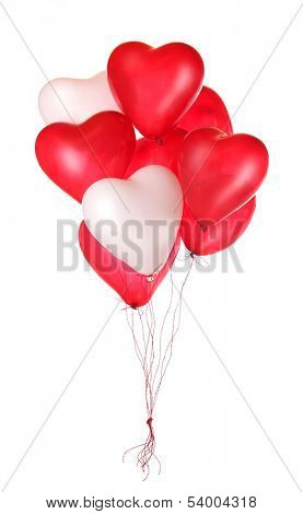 Group of red heart balloons isolated on white background