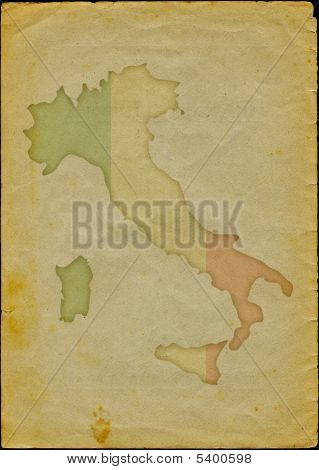 Italy map on old paper