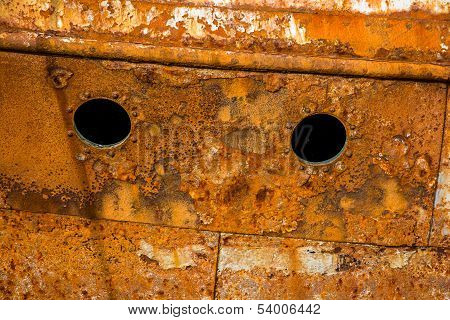 Rusty wall of an abandoned ship
