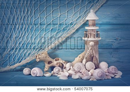 Marine life decoration on blue shabby background