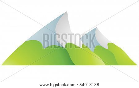 Illustration of Snowy Mountains Cartoon isolated on a white background