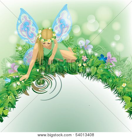 Vector illustration with a fairy girl with blue wings seated near the water bordered by plants and flowers