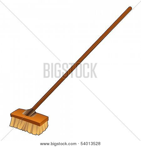 Illustration of DIY item, Cartoon Broom isolated on a white background