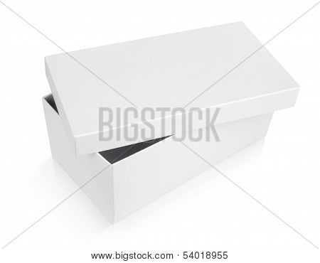 Half-open Shoe Box On White