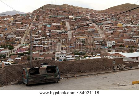 POTOSI, BOLIVIA - JAN 6: Scene on one of the streets in center of city, Jan 6, 2011 Potosi, Bolivia. It is one of the highest cities in the world by elevation at a nominal 4,090 metres.