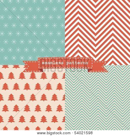 Set of simple retro Christmas patterns.